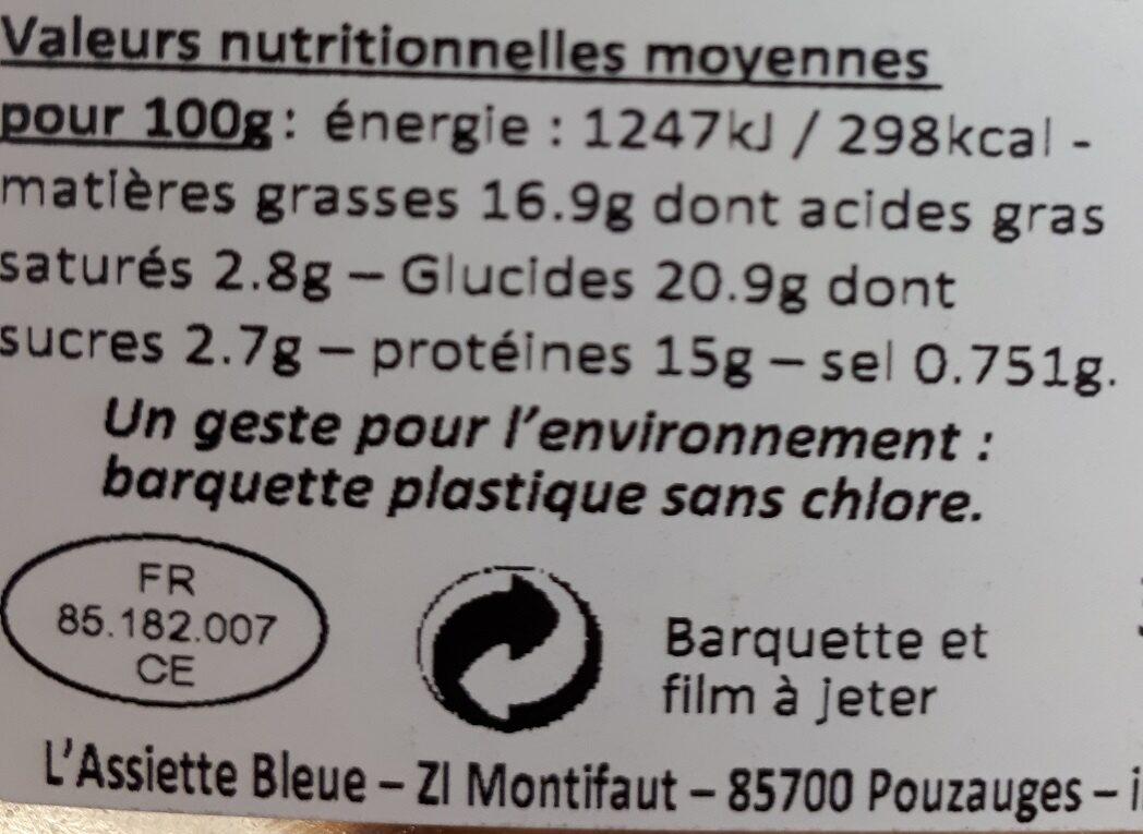 Papillote de saumon et petits légumes - Voedingswaarden - fr