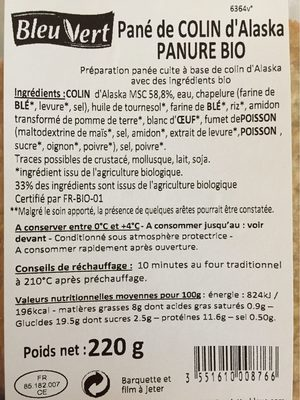 Panés de colin d'alaska - Nutrition facts - fr