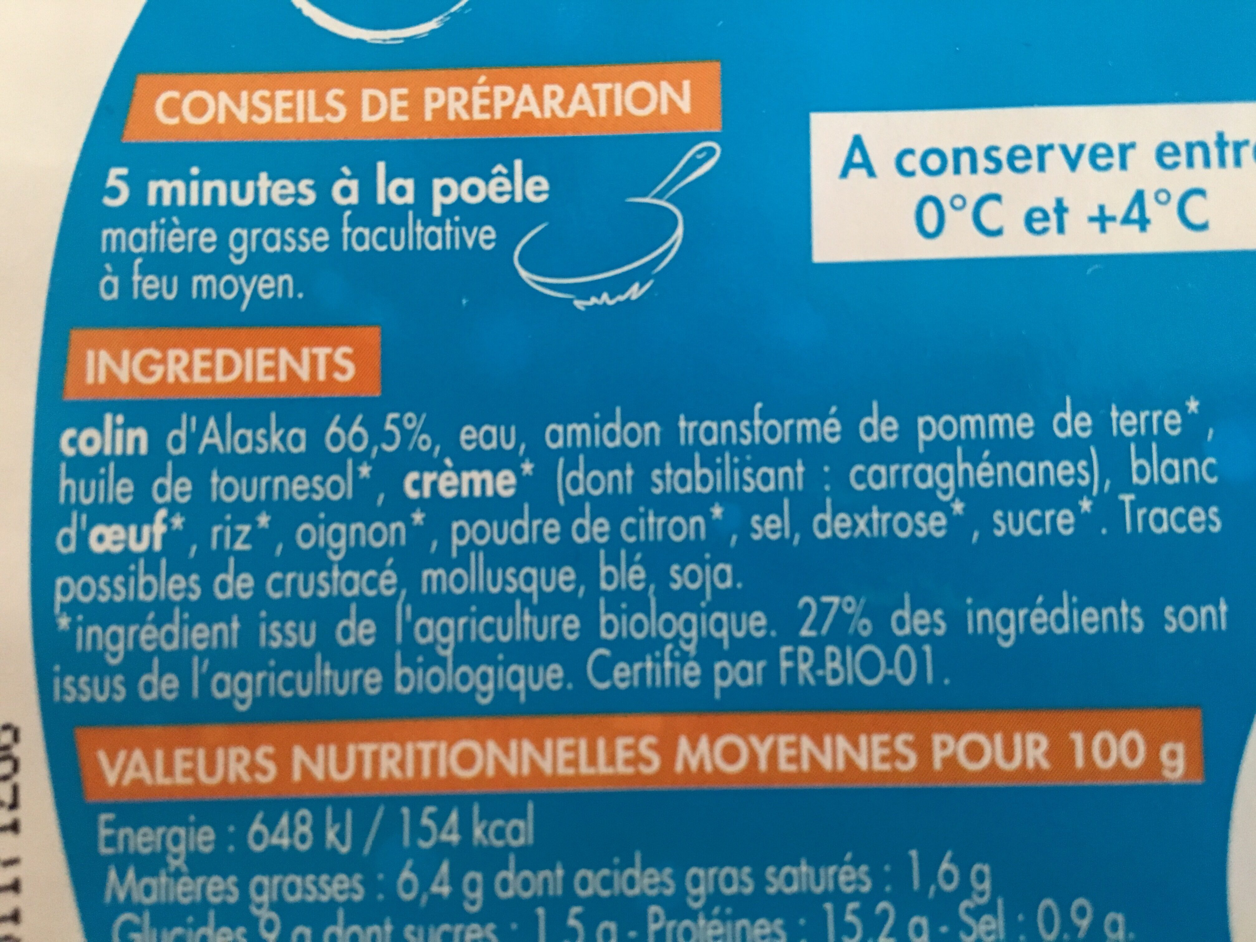 Colin d'Alaska - Ingrediënten - fr