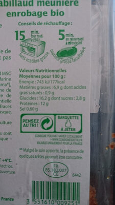 Cabillaud meuniere - Voedingswaarden