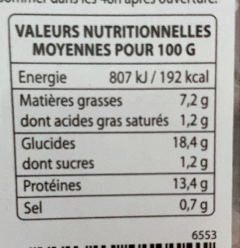Lieu noir - Informations nutritionnelles - fr