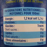 Limonade Zero - Voedingswaarden