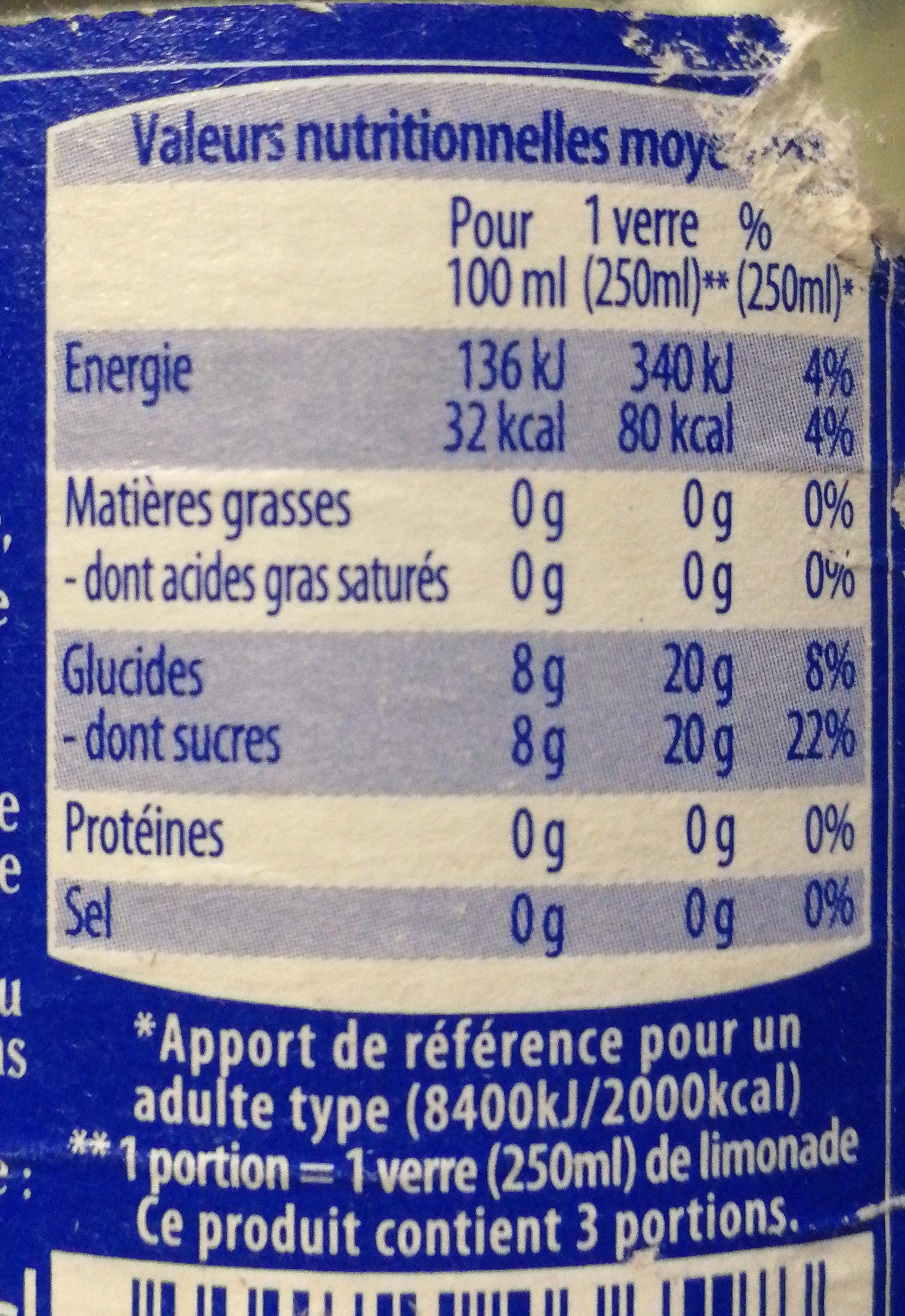 Limonade Artisanale - Nutrition facts