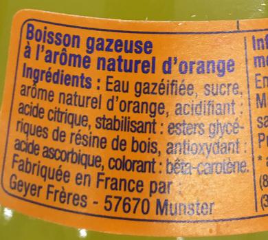 Orange Soda Artisanal - Ingrédients - fr