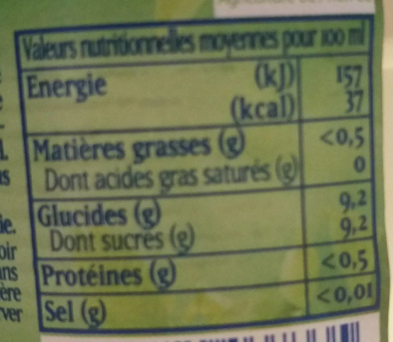 Limonade Citron Bio - Nutrition facts