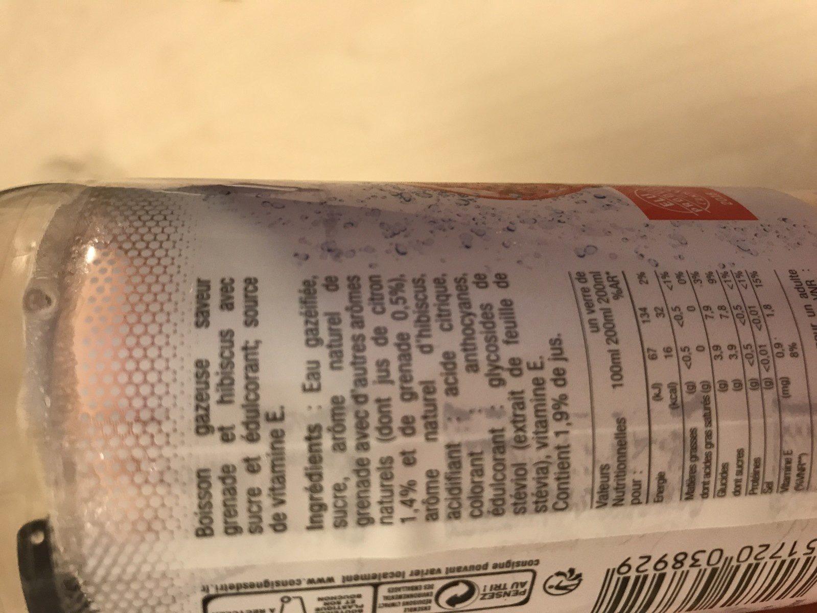 Boisson petillante aux saveurs de Grenade Hibiscus Vitamine E - Ingredients - fr