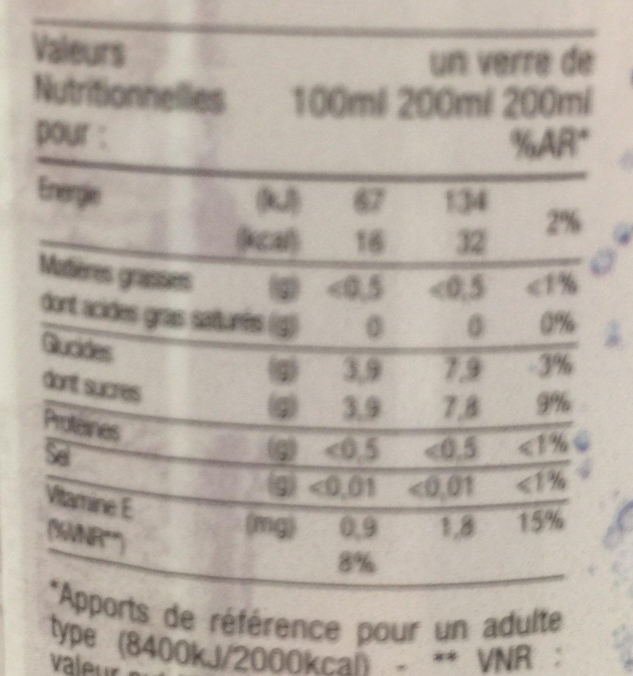 Boisson petillante aux saveurs de Grenade Hibiscus Vitamine E - Nutrition facts - fr