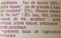 Thé vert infusé glacé - Ingredients