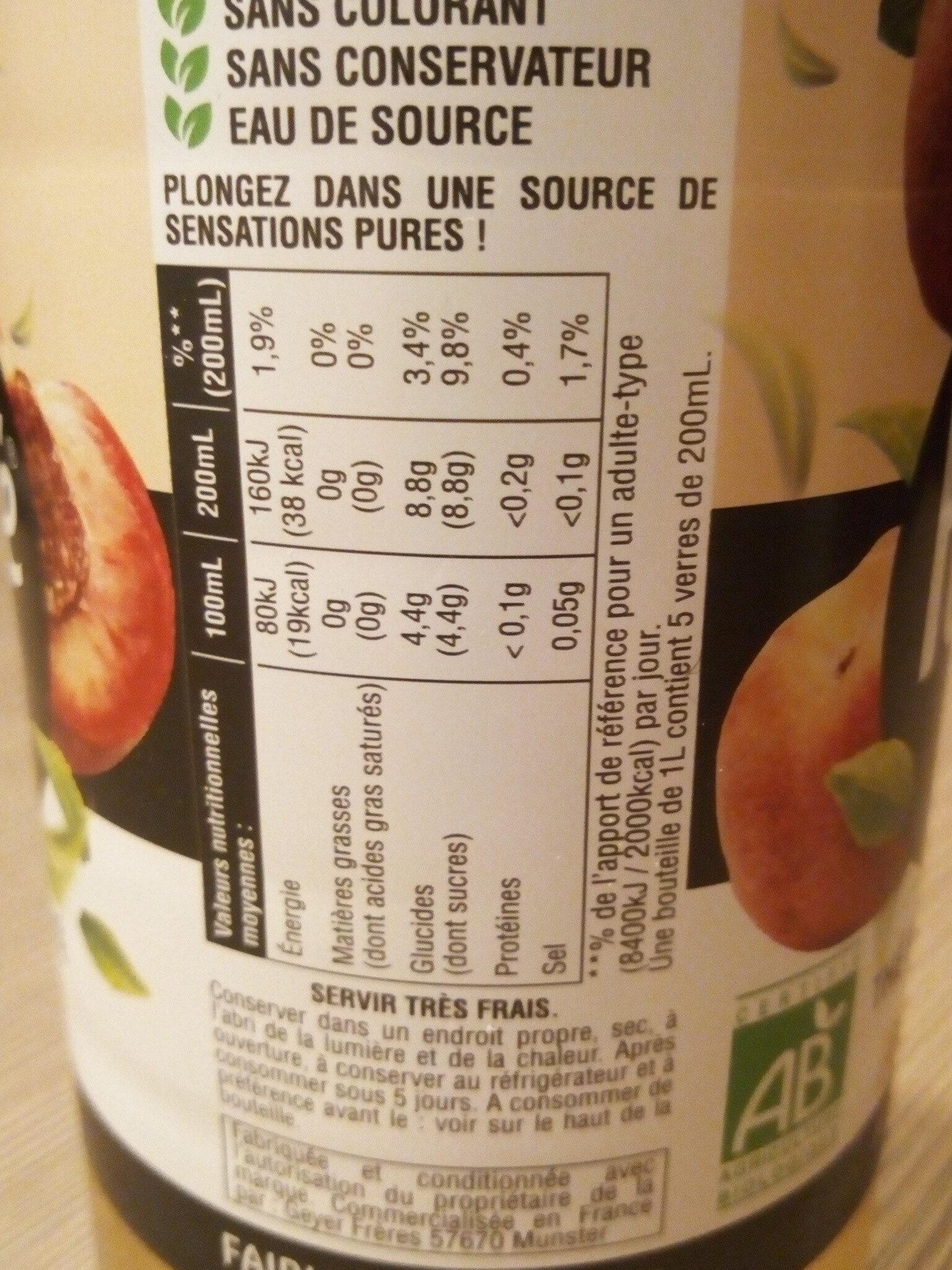 Purethé bio peche de vigne - Nutrition facts - fr
