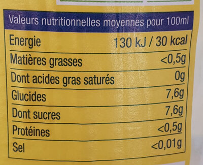 Citronnade Artisanale - Voedingswaarden
