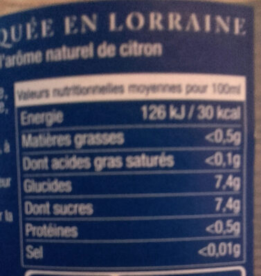 Limonade de Loraine - Nutrition facts