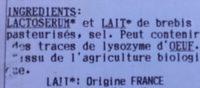 Brousse de Brebis Bio - Inhaltsstoffe - fr