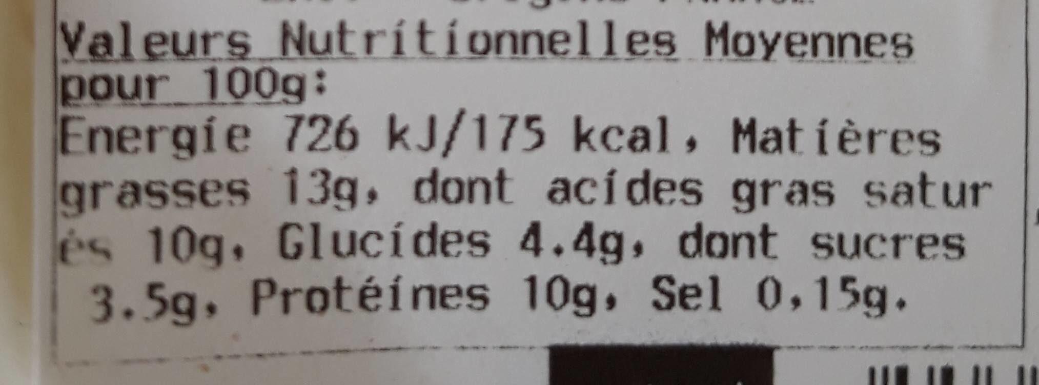 Brousse de Brebis Bio - Nährwertangaben - fr