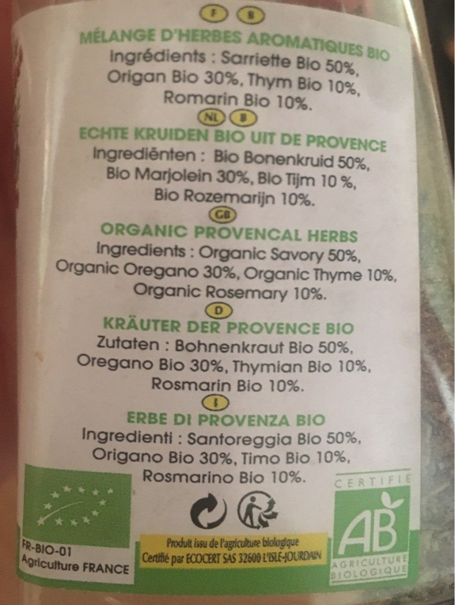 Herbes de Provence  bio - Ingredients