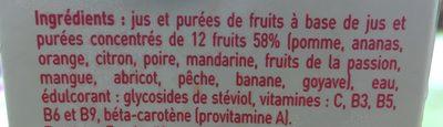 Nectar multifruits avec édulcorant provenant de la stévia à base de jus et de purées de fruits concentrés - Inhaltsstoffe - fr
