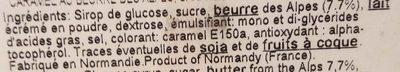 Caramel au Beurre des Alpes - Ingrédients