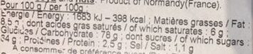 Caramels au Beurre Salé - Informations nutritionnelles