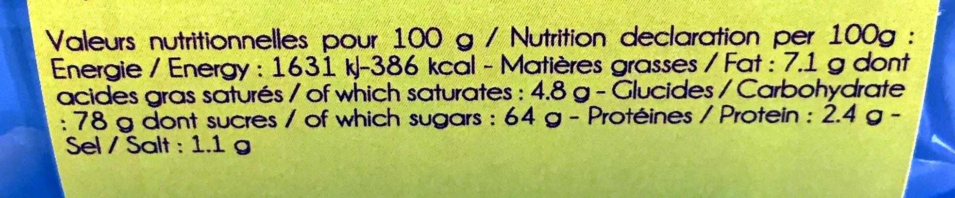 caramel au beurre salé et à la fleur de sel - Voedingswaarden - fr