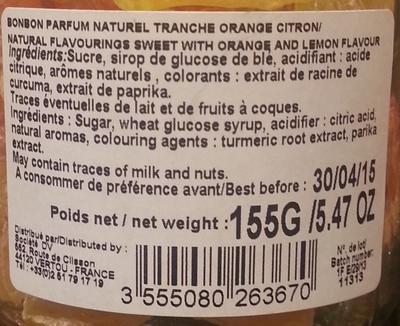 Air de Paris, bonbons saveur orange citron - Ingredients