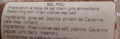 Sel fou - Ingredients