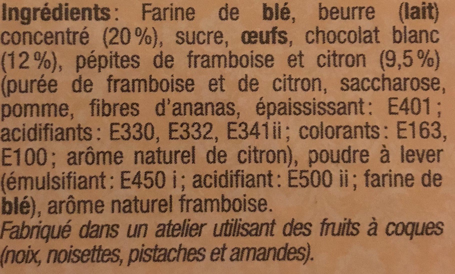 Palets Chocolat blanc Framboise - Ingrédients
