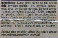 Tuiles aux Myrtilles - Ingredients - fr
