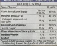 Galette au chocolat blanc et a la framboise - Informations nutritionnelles
