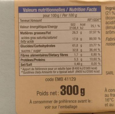 Mini palet à l'orange - Voedingswaarden