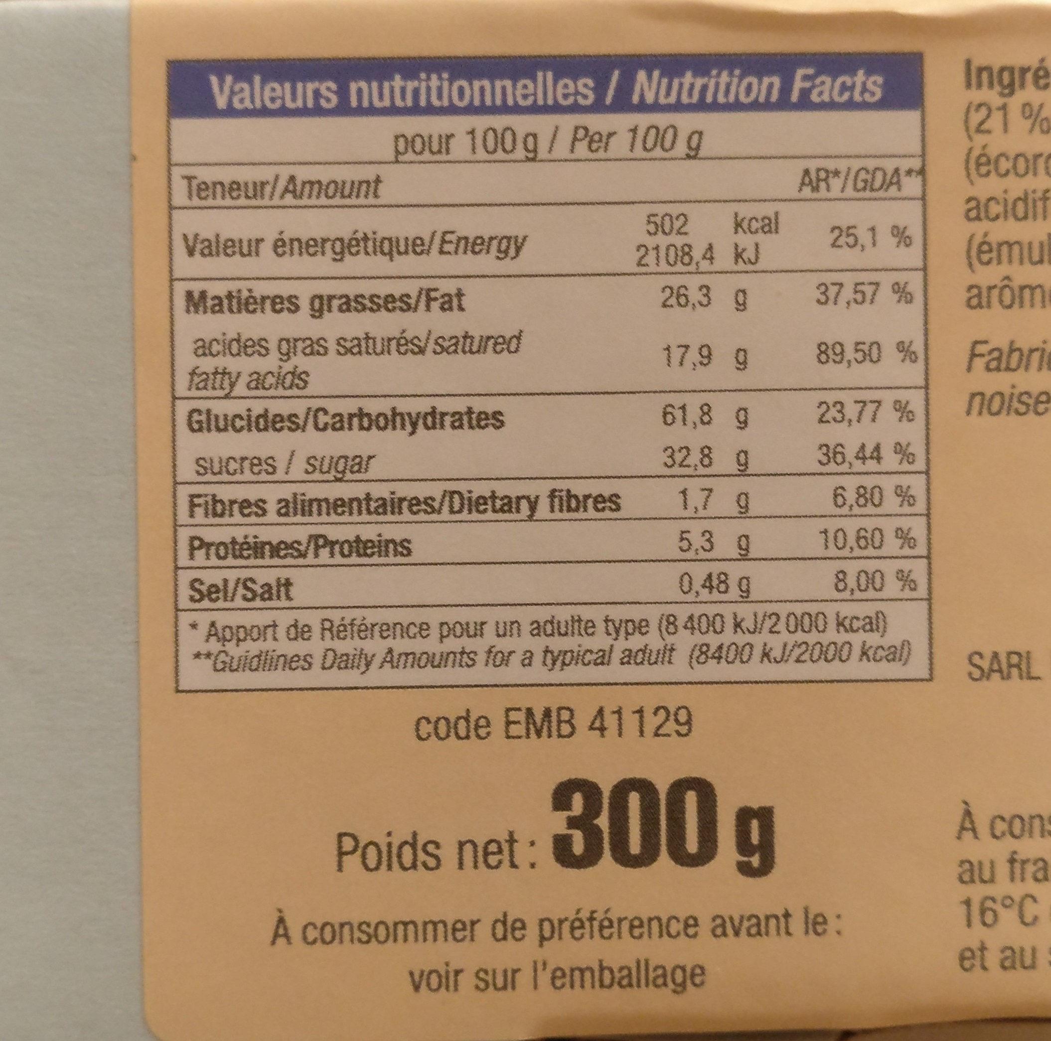Mini palet à l'orange - Voedingswaarden - fr