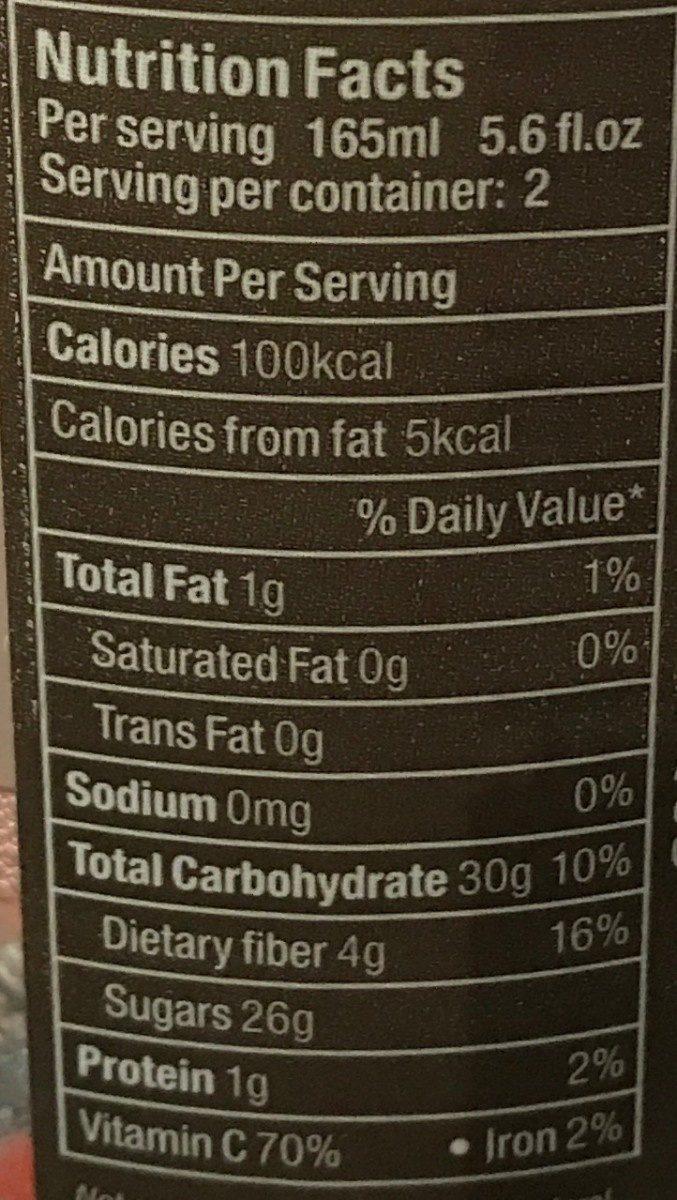 Nectar Framboise - Informations nutritionnelles