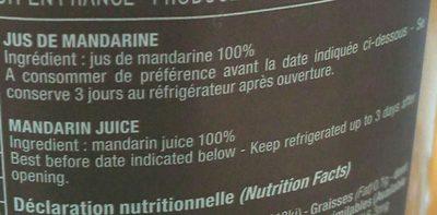 Jus De Mandarine - Ingrediënten - fr