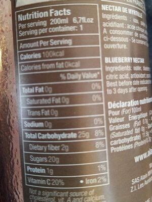 Nectar myrtille sauvage - Nutrition facts - fr