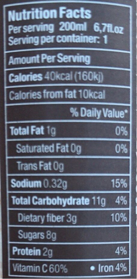 Jus tomate - Nutrition facts - fr