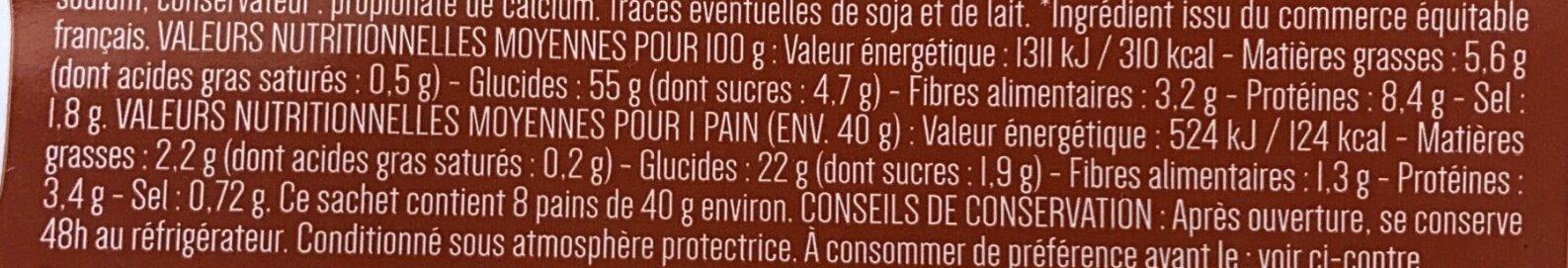 8 Pains Lavash - Información nutricional - fr