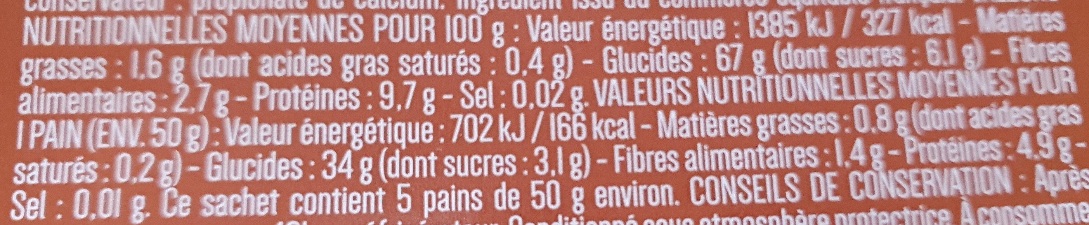 pains libanais - Informations nutritionnelles - fr