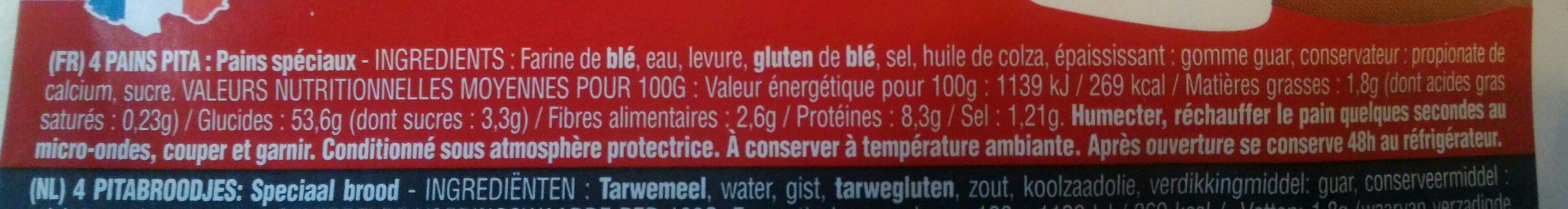 pains pita - Ingrédients - fr
