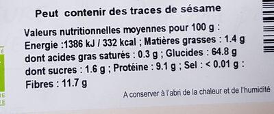 Farine de seigle T130 - Informations nutritionnelles