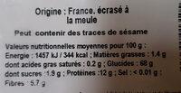Farine de blé T110 - Informations nutritionnelles