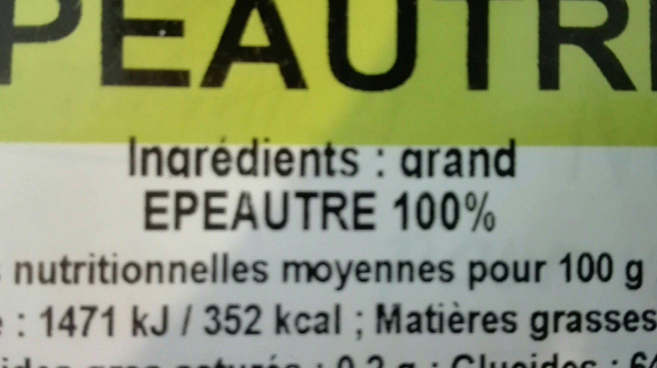 Farine d'épeautre T110 - Ingredients