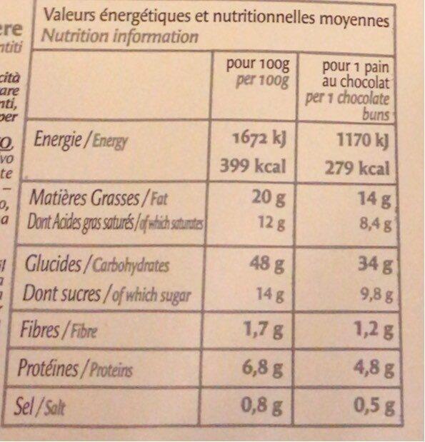 5 Pains au Chocolat Prêts à Cuire Congelés - Nutrition facts - fr