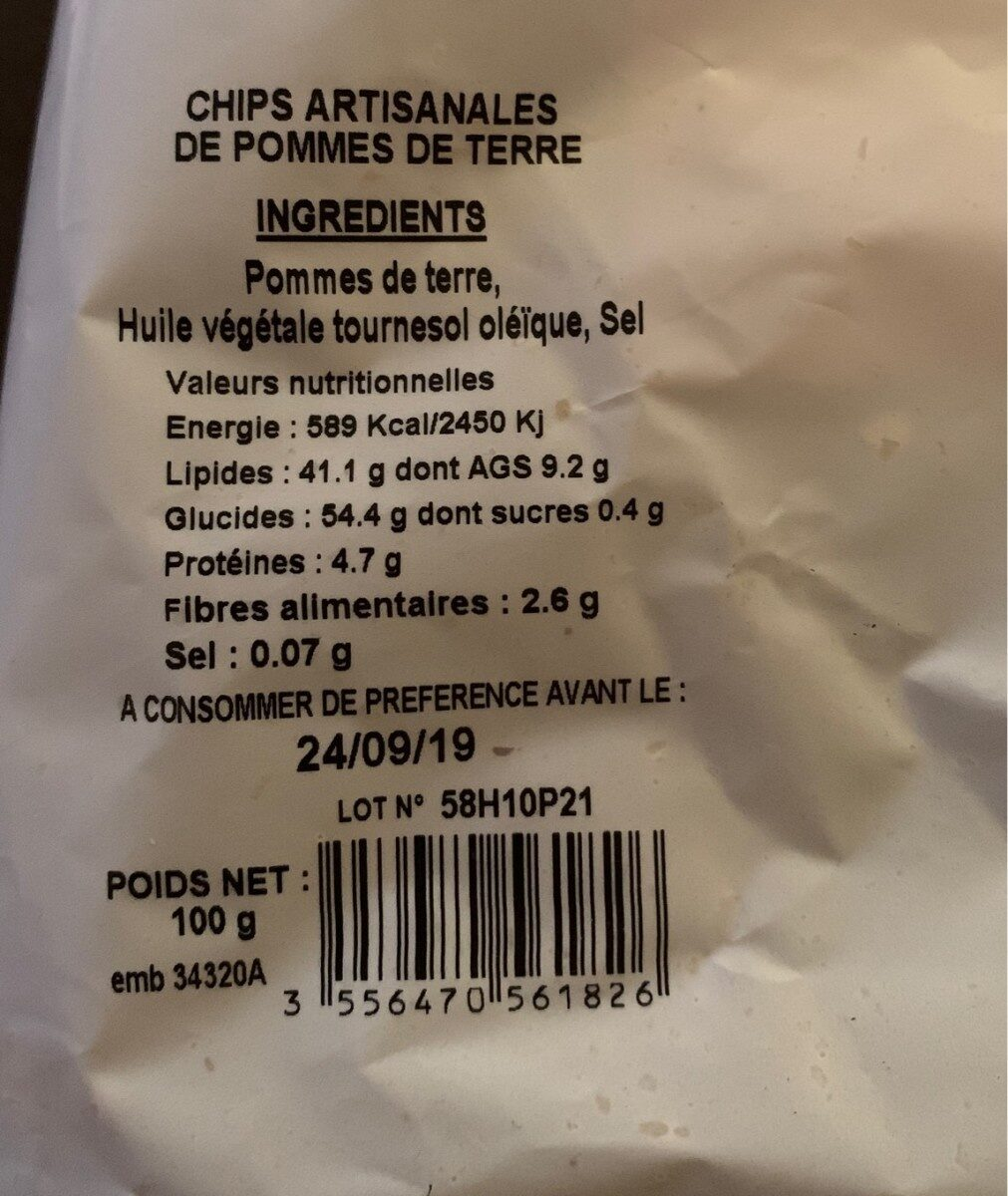 Pommes chips - Nutrition facts - fr
