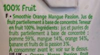 Smoothie - 100% fruits mixés - Orange - Mangue - Ingredients - fr