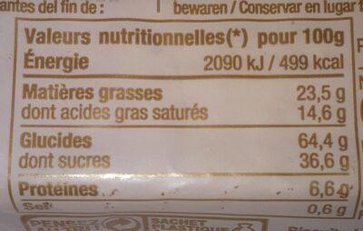 Petit Beurre Chocolat au Lait - Informations nutritionnelles