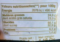 Cookies aux pépites de chocolat - Nutrition facts