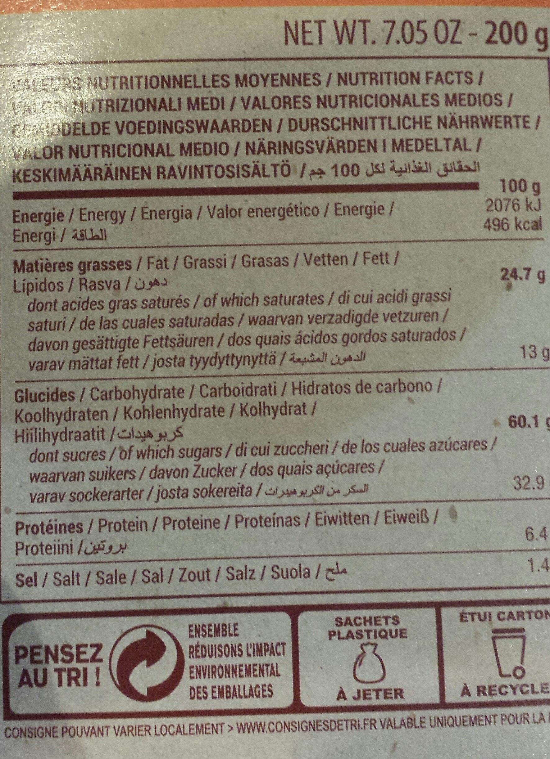 Cookies chocolat pépites de chocolat - 营养成分 - fr