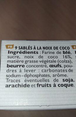 Sablé à la noix de coco - Ingrédients