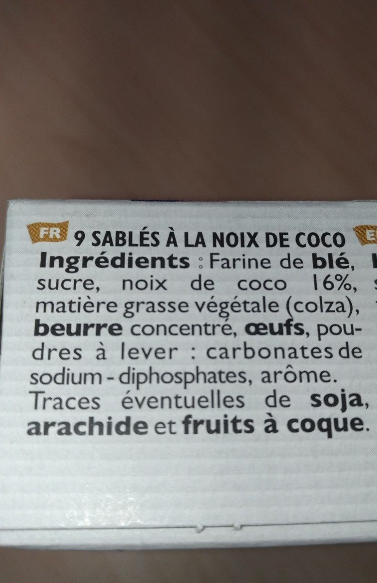 Sablé à la noix de coco - Ingrédients - fr