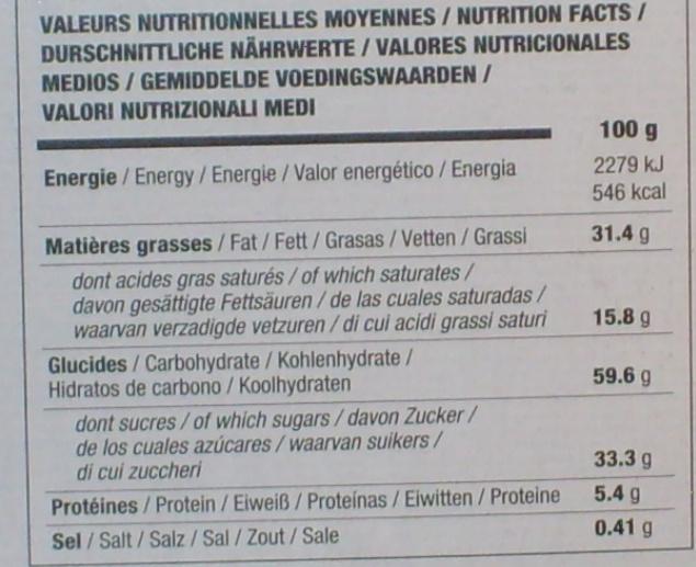 Sablé à la noix de coco - Voedingswaarden - fr