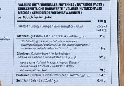 Sablé à la noix de coco - Informations nutritionnelles - fr