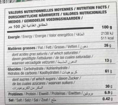 Biscuit Filet-bleu Nougatine Bio - Nutrition facts - fr